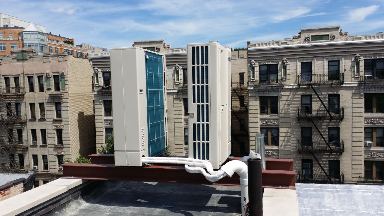 Mini split outdoor units installed on the roof in New York, NY